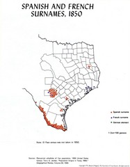 Spanish and French Surnames in 1850 Texas Map