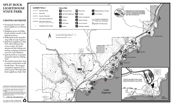 Split Rock Lighthouse State Park Summer Map