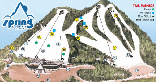 Spring Mountain Ski Area Ski Trail Map