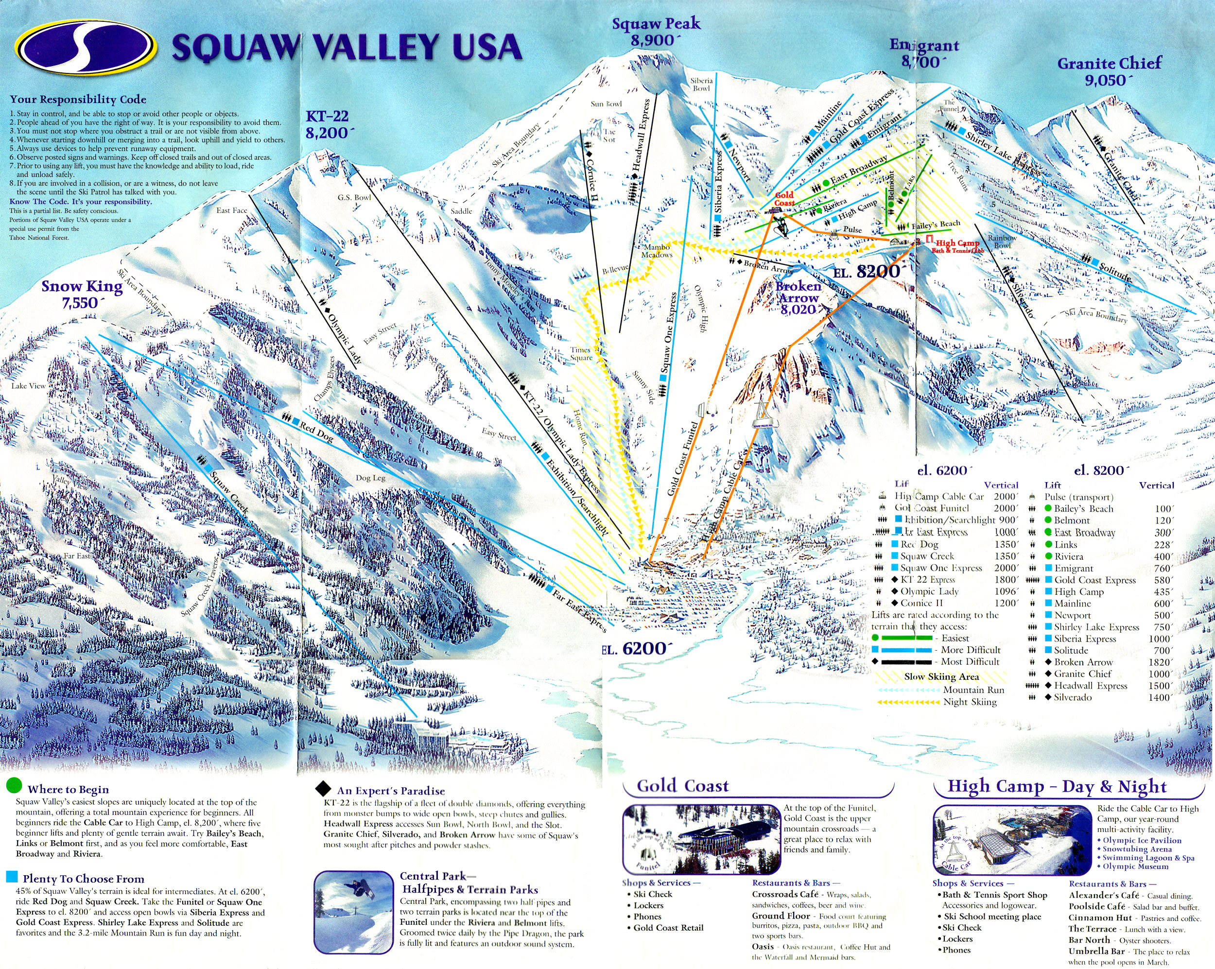 squaw valley ski trail map  olympic valley california • mappery -
