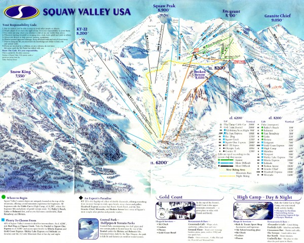 Squaw Valley Ski Trail Map