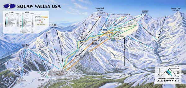 Squaw Valley Usa Ski Trail Map California United States Mappery