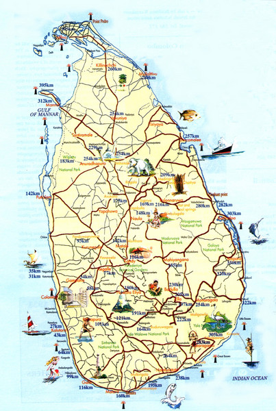 Sri Lanka Tourist Map