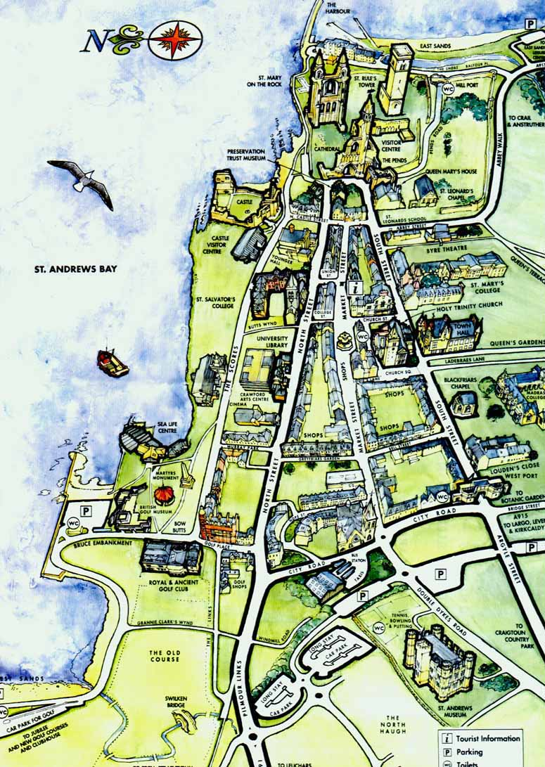 St Andrews Scotland Tourist Map   St Andrews Scotland • mappery