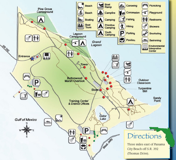St Andrews State Park Map Panama City Florida mappery – Panama City Tourist Map
