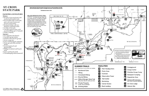 St. Croixs State Park Summer Map