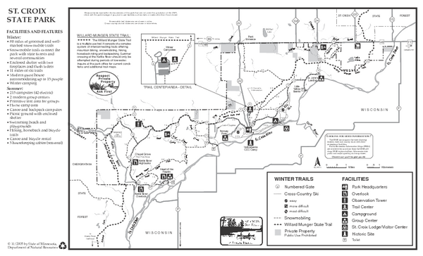St. Croixs State Park Winter Map