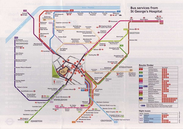 St. Georges Hospital Bus Services Map