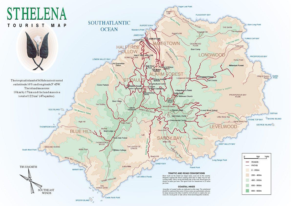 St Helena Tourist Map St Helena mappery