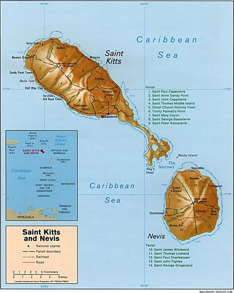 St Kitts and Nevis Map • mappery