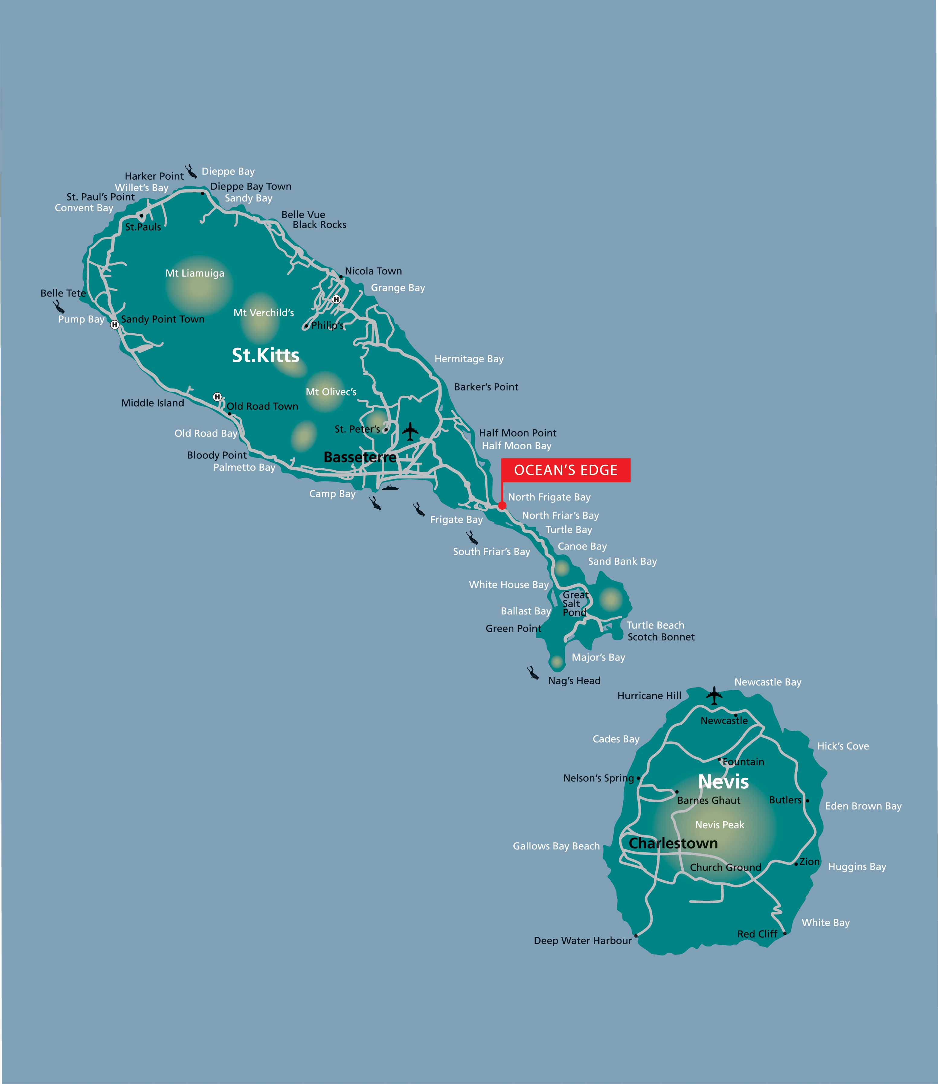 St Kitts And Nevis Dive Sites Map Mappery - Saint kitts and nevis map