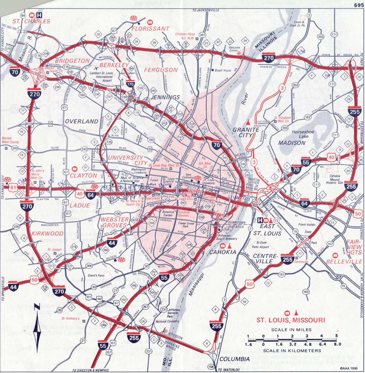 St Louis Mo Tourist Map St Louis Mo Mappery