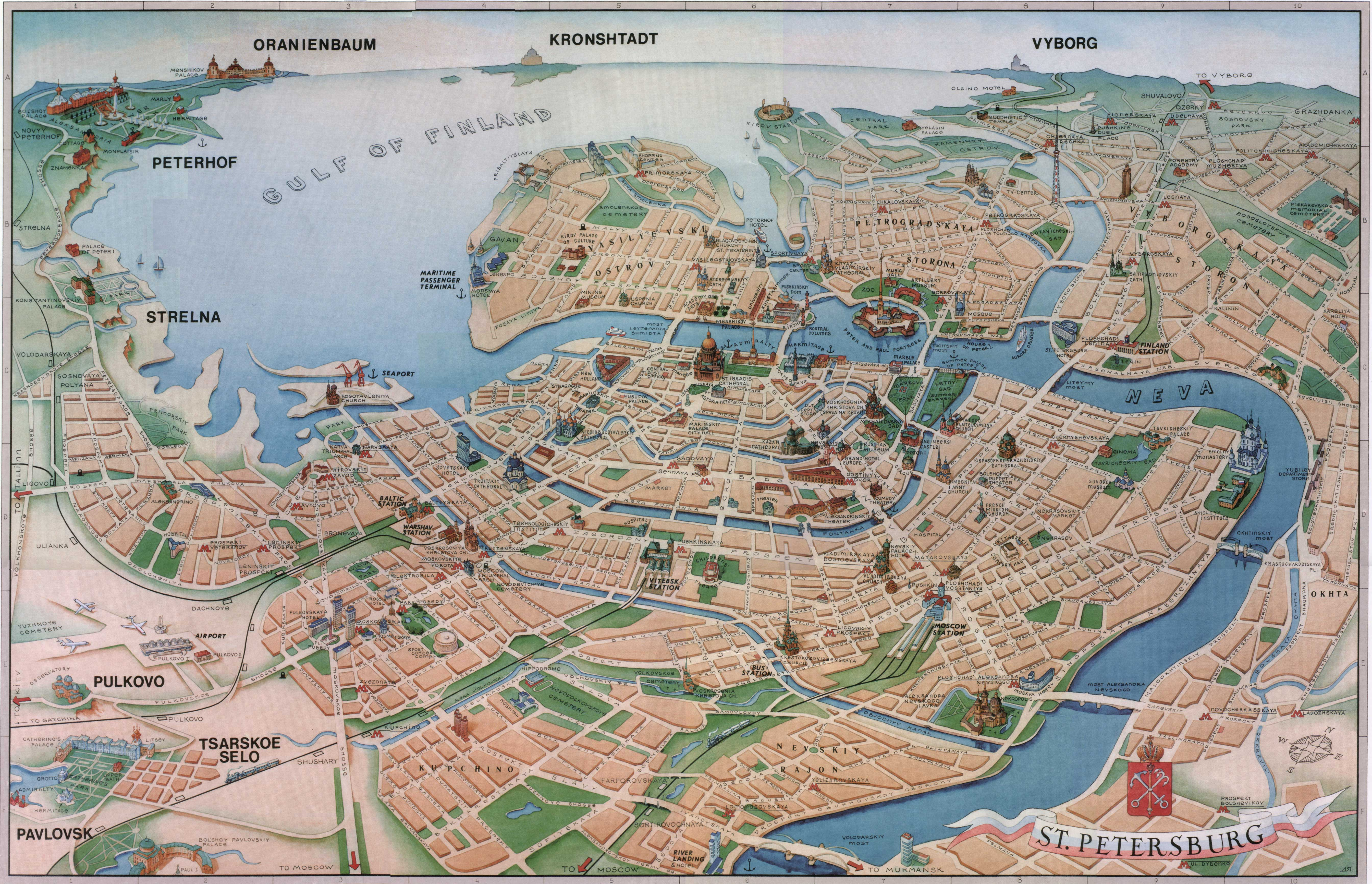 St petersburg tourist map see map details from escapetravel spb ru