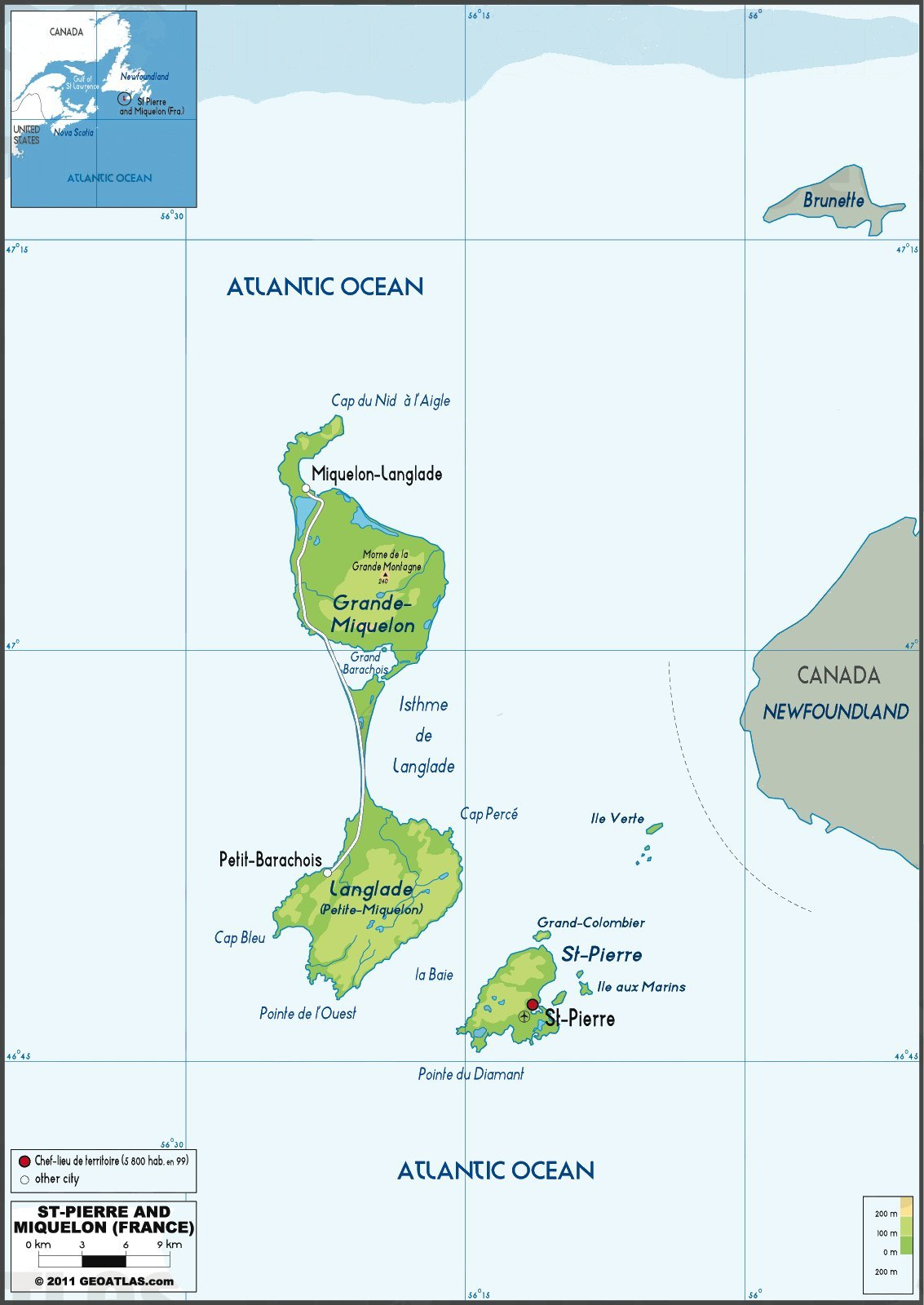 St Pierre et Miquelon Map mappery