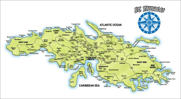 St Thomas Island Map Us Virgin Islands \u2022 Mappery: Map Of St Thomas Us Virgin Islands At Infoasik.co