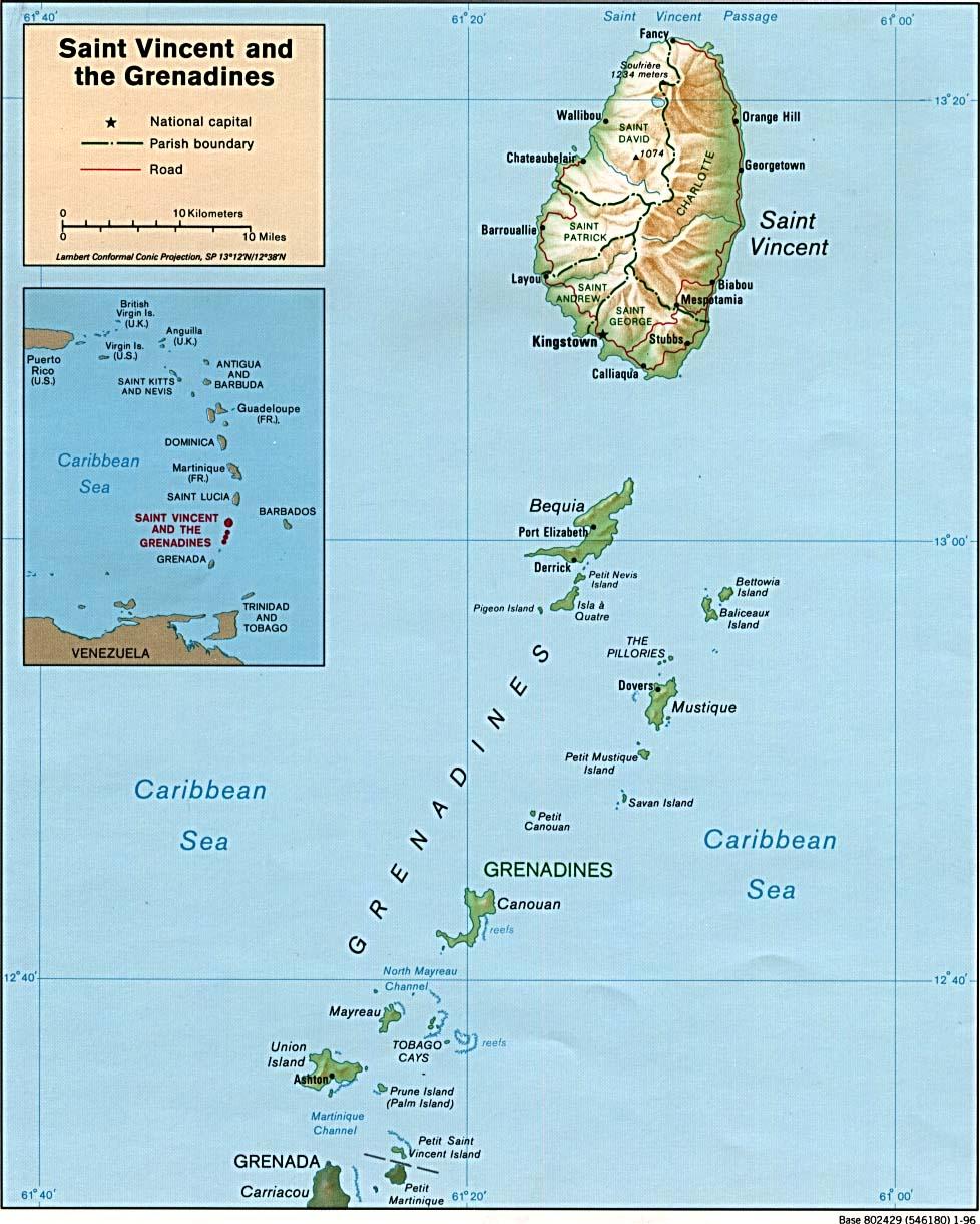 St Vincent Map saint lucia mappery