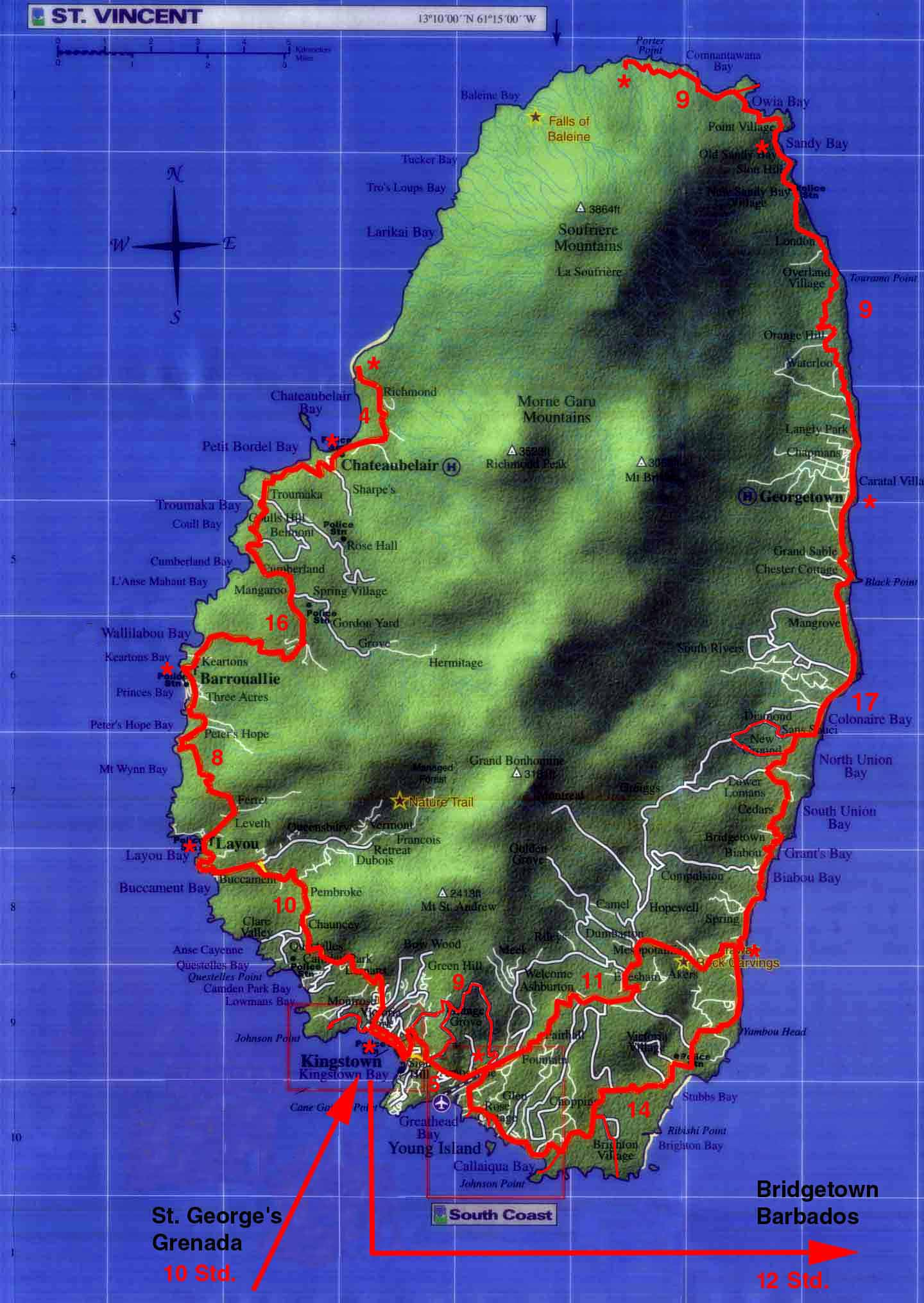 St Vincent tourist Map mappery