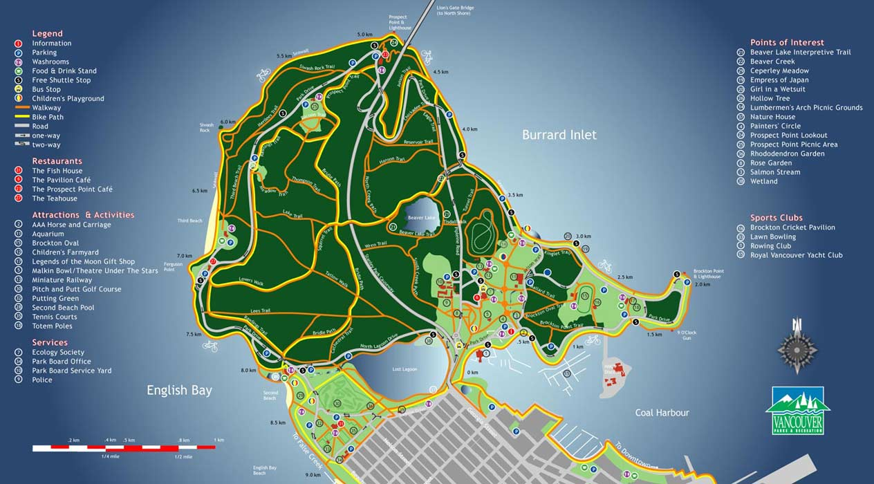 Stanley Park Map - Burrard Inlet • mappery Stanley Map