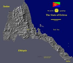 State of Eritrea Drainage and Elevation Map