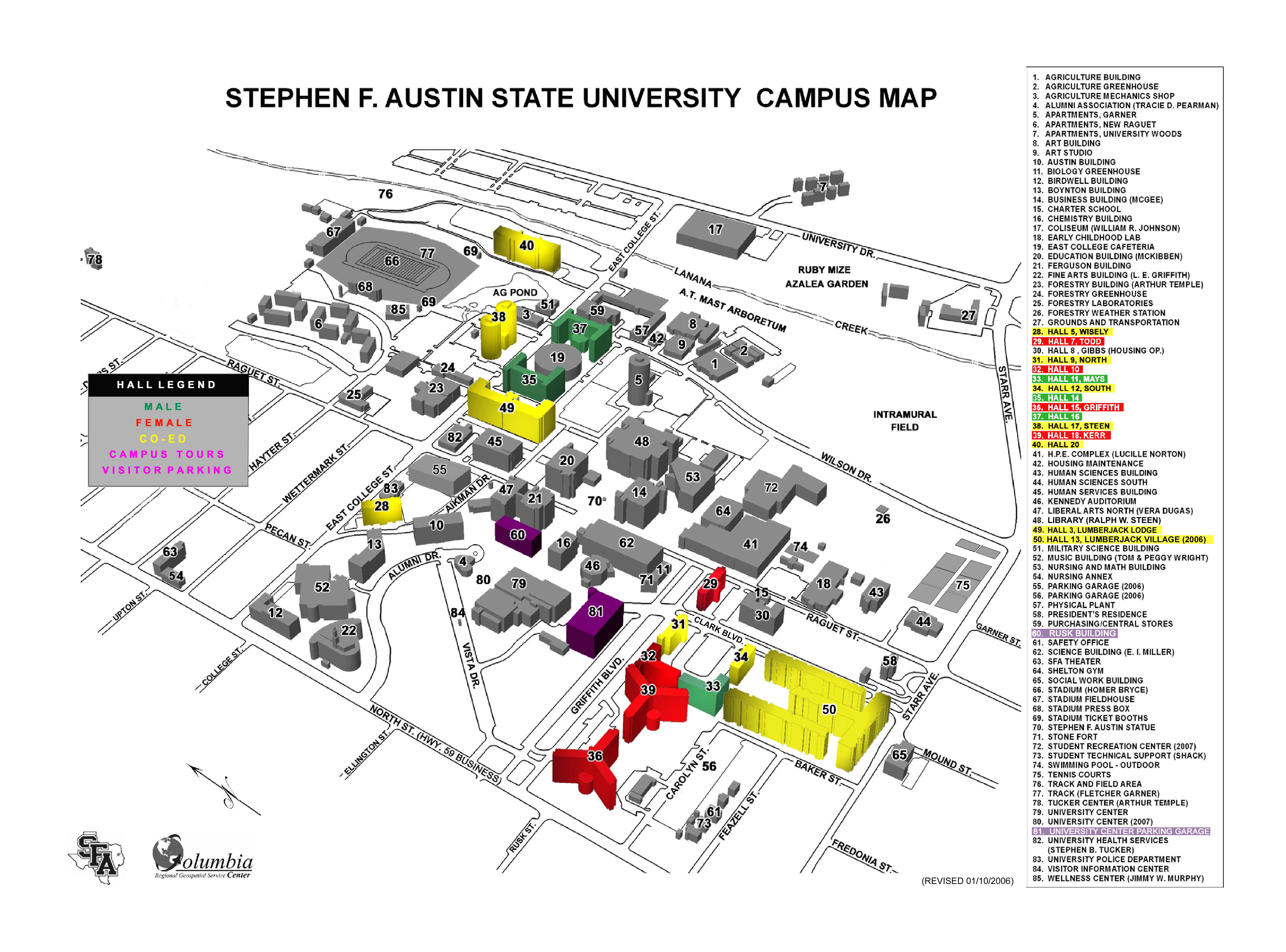 Stephen F Austin State University Campus Map Nacogdoches