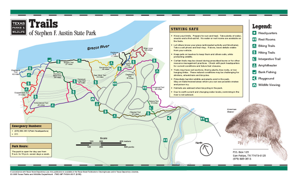 Stephen F. Austin, Texas State Park Trail Map