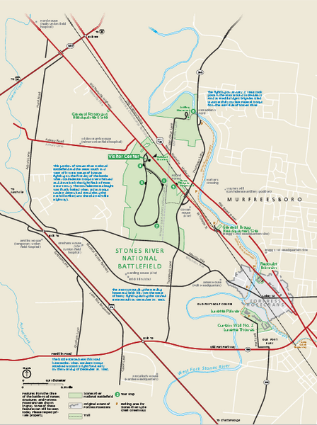 Stones River National Battlefield Official Map