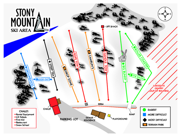 Stony Mountain Ski Area Ski Trail Map