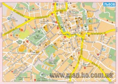 Street map of central Lviv, Ukraine. (Russian)