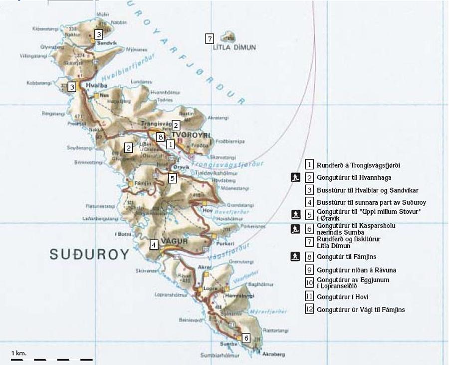 Suðuroy Tourist Map - Suethuroy Faroe Islands • mappery