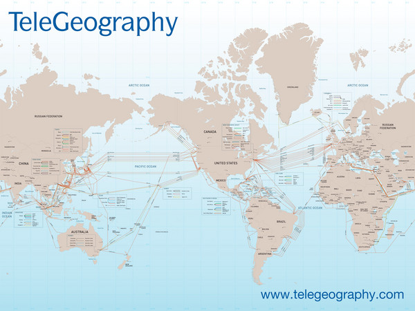 Submarine Cable Map - World • mappery