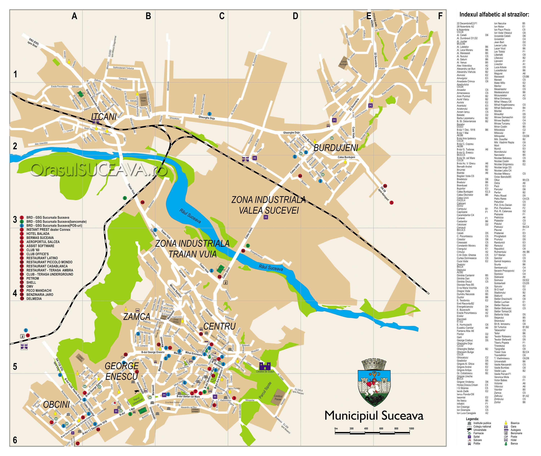 Suceava pe hartă | Suceava maps | Hărţi turistice pentru Suceava (municipiu, judeţ) şi Bucovina | Hărţi istorice ale Bucovinei