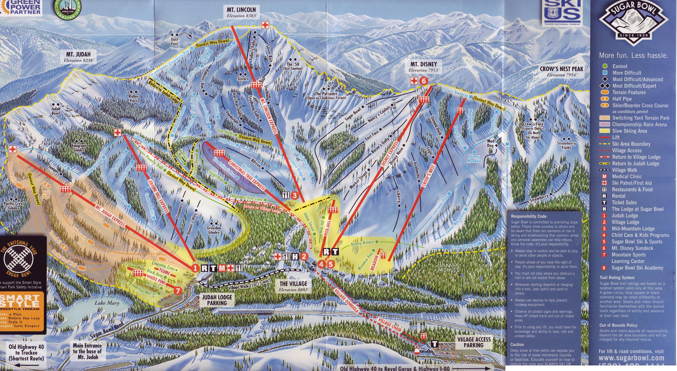 Sugar Bowl Ski Trail Map - Donner California • mappery on