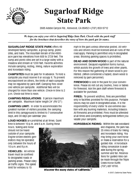 Sugarloaf Ridge State Park Campground Map