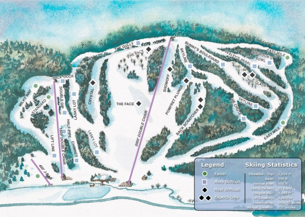 Suicide Six Ski Trail map