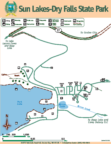 Sun Lakes-Dry Falls State Park Map