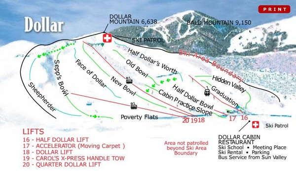 Sun Valley—Bald Mountain Ski Trail Map
