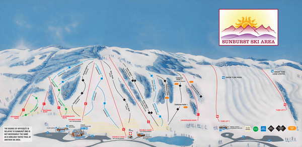 Sunburst Ski Area Ski Trail Map