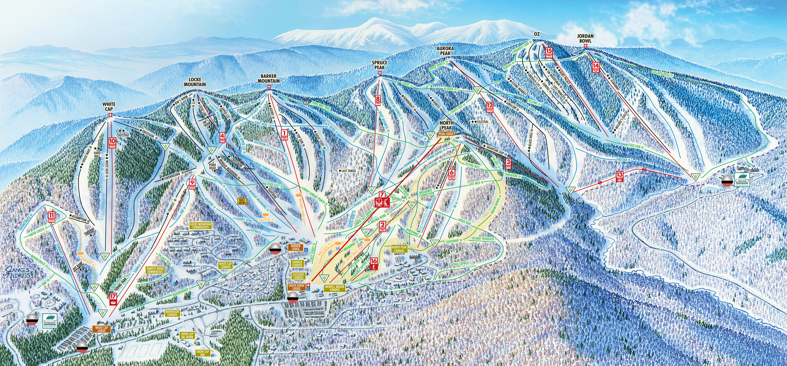Sunday River Ski Resort Ski Trail Map Newry Maine United States