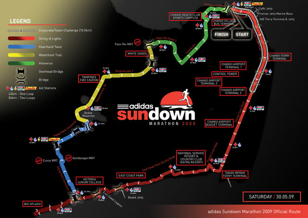 SUNDOWN MARATHON Route Map - Changi Point Singapore • mappery