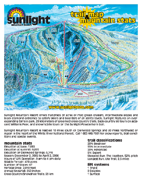 Sunlight Mountain Resort Ski Trail Map