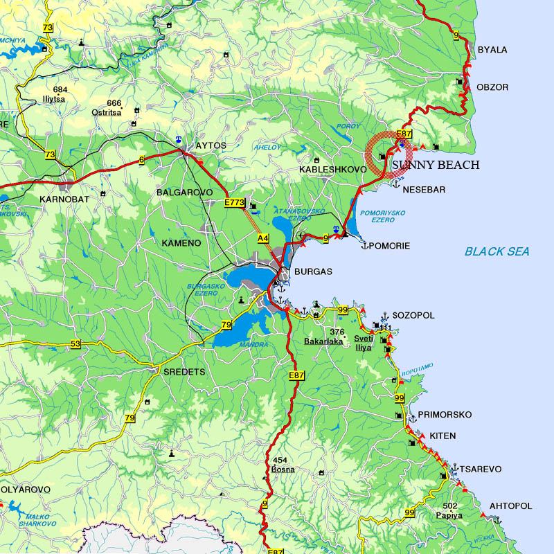 Sunny Beach Burgas Tourist Map Burgas mappery
