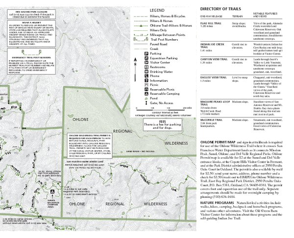 Sunol Regional Wilderness Trail Map - East