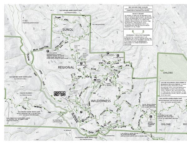 Fullsize Sunol Regional Wilderness Trail Map - West