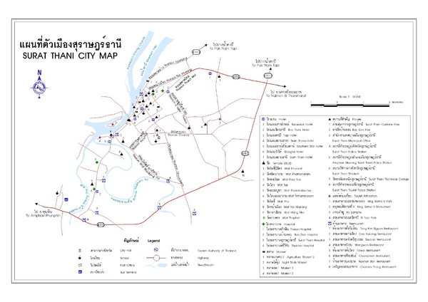 Surat Thani Tourist Map