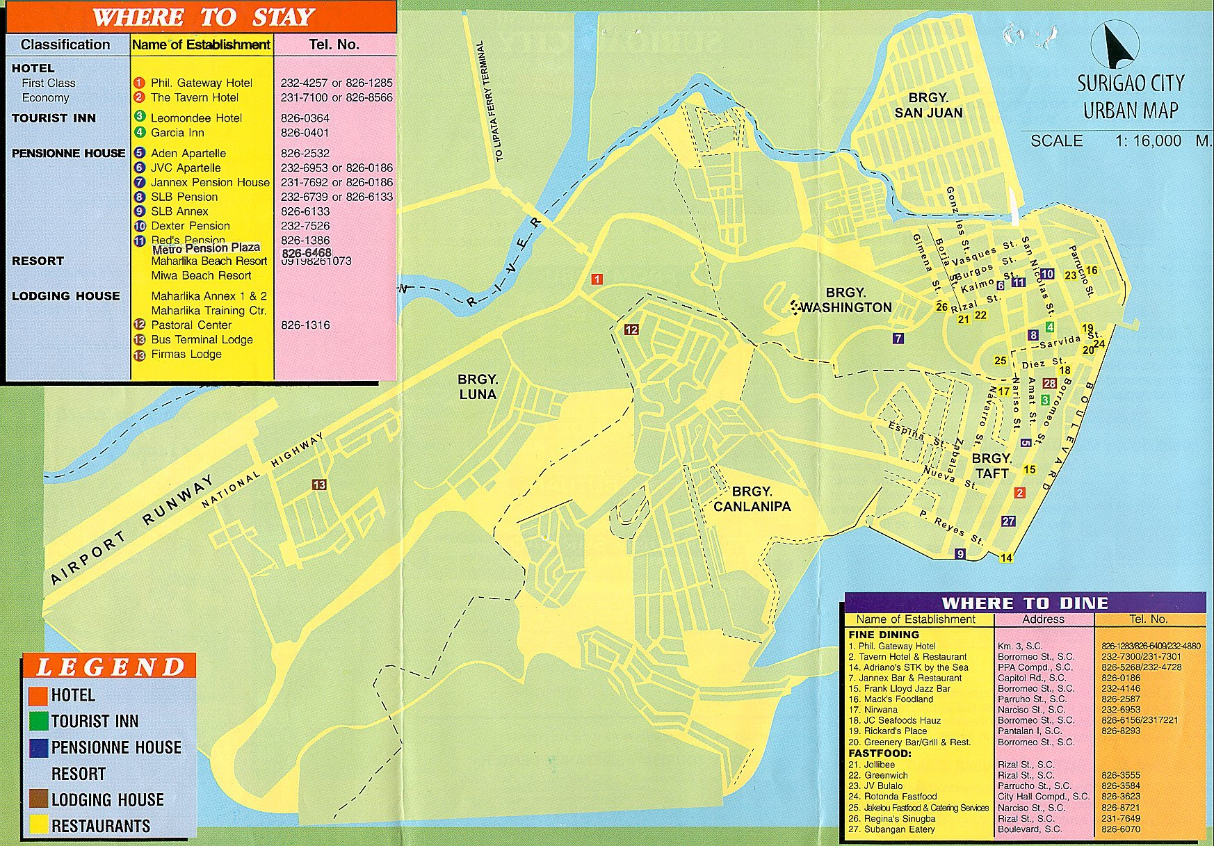 surigao tourist map  surigao philippines • mappery -