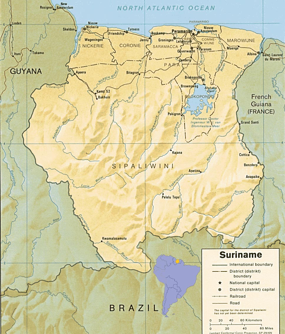 Surinam Relief Map Mappery