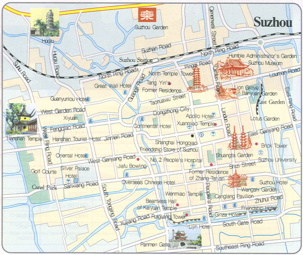 Suzhou China Tourist Map