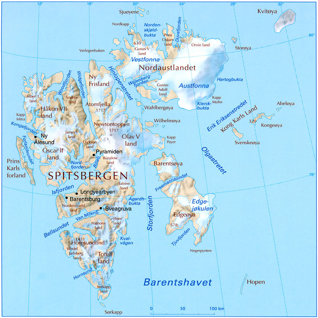 Svalbard Physical Map Svalbard Norway mappery