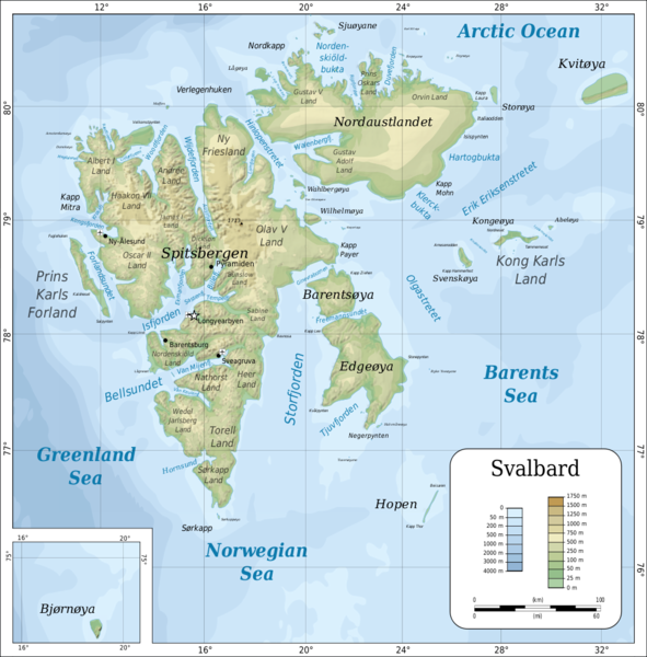 Svalbard islands topo Map