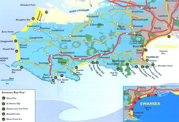 Swansea Area Tourist Map Swansea mappery